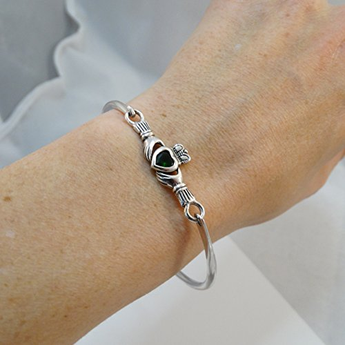 Sterling Silver Celtic Claddagh Bangle Bracelet with Green Glass Heart