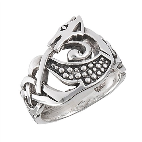 Sterling Silver Celtic Knot DRAGON Ring(Sizes 4,5,6,7,8,9,10,11,12,13)