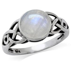8MM Natural Round Shape Moonstone 925 Sterling Silver Triquetra Celtic Knot Solitaire Ring