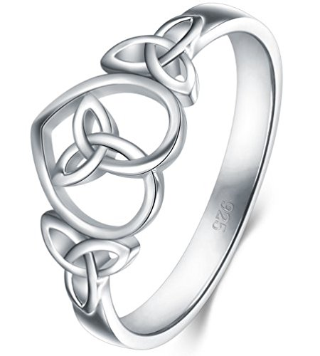 BoRuo 925 Sterling Silver Ring Celtic Knot Heart High Polish Tarnish Resistant Eternity Wedding Band Stackable Ring Size 12