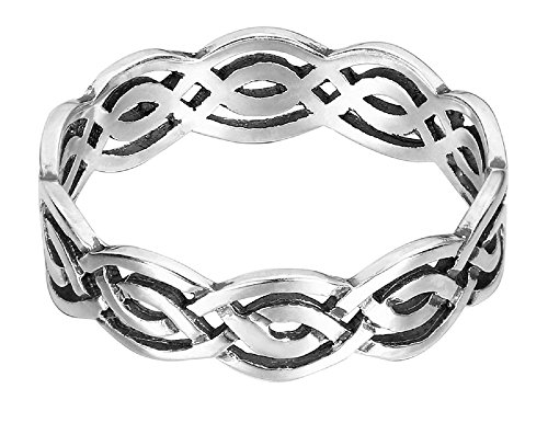CloseoutWarehouse Sterling Silver Wicca Weave Celtic Ring (Sizes 3-15)