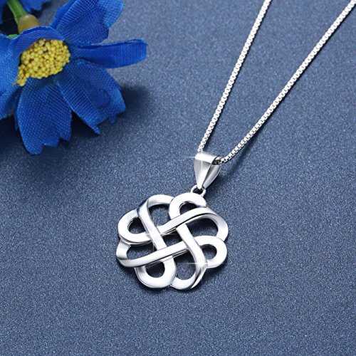 JUFU 925 Sterling Silver Good Luck Polished Celtic Knot Cross Pendant Necklace For Womens
