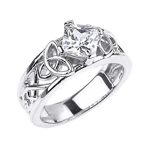 CZ Engagement Rings Elegant Sterling Silver Celtic Trinity Knot Princess Cut