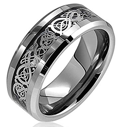 Zealmer Celtic Dragon Ring Silver Tone Inlay Comfort Fit Stainless Steel Wedding Band Ring for Men