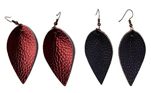 L&N Rainbery 2 Pairs Petal Leather Earrings Faux and Genuine Leather Teardrop Earrings Leaf Drop Earrings