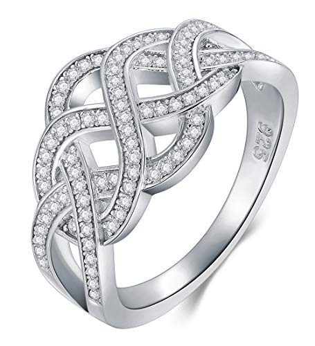 BORUO 925 Sterling Silver Ring, Celtic Knot Cubic Zirconia CZ Wedding Band Stackable Ring Size 4-12