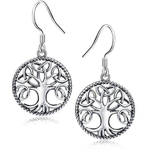 Apotie Sterling 925 Silver Oxidation Celtic Knot Tree Of Life Charms Pendant Necklaces and Earrings