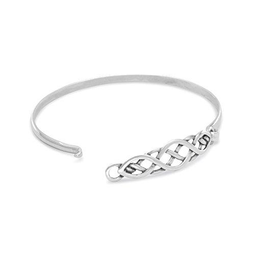 Celtic Knot Style Sterling Silver Bangle Bracelet Small Size