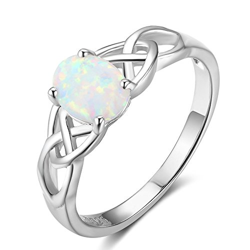 925 Sterling Silver Celtic Knot Lab Created Oval Opal Engagement Ring Band Size 6-8