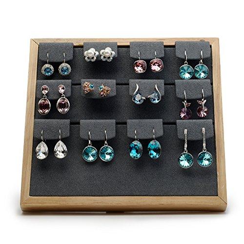 Oirlv Soild Wood Velvet Jewelry Tray Creative Unpainted Jewelry Display Organizer