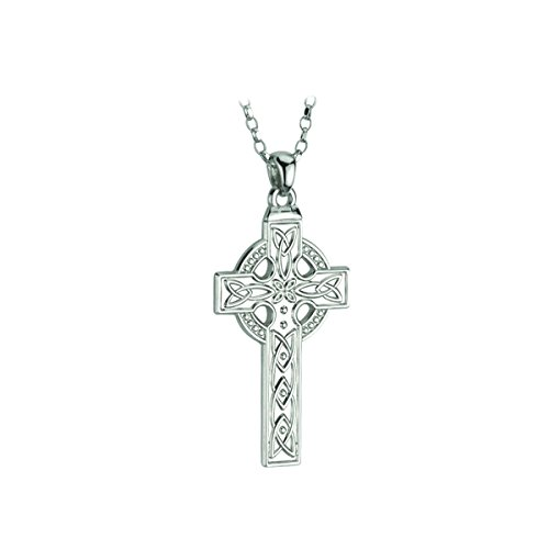 """Mens Celtic Cross Necklace Sterling Silver 20"""" or 24"""" Quality Chain Irish Made"""