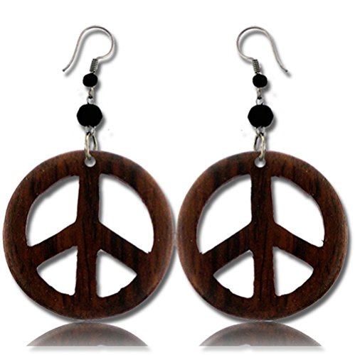 Earth Accessories Stainless Steel Organic Wood Dangle Peace Sign Earrings