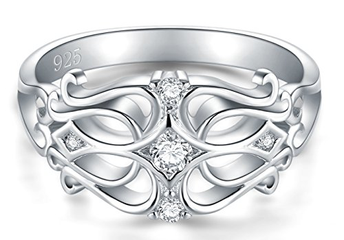 BORUO 925 Sterling Silver Ring, Cubic Zirconia Celtic Knot CZ Diamond Eternity Engagement Wedding Band Ring