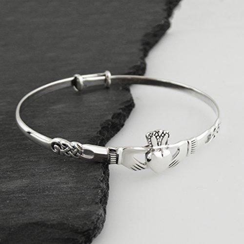 FashionJunkie4Life Sterling Silver Irish Claddagh Celtic Knot Bangle Bracelet