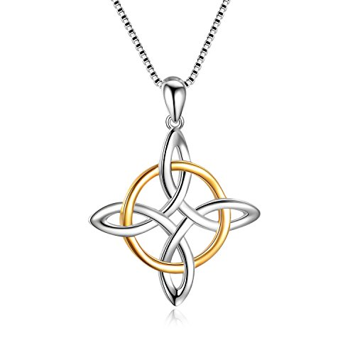 LUHE Cletic Knot Necklace 925 Sterling Silver Regious Cross Celtics Pendant Necklace Jewelry Gift for Women,Girls 18inchs
