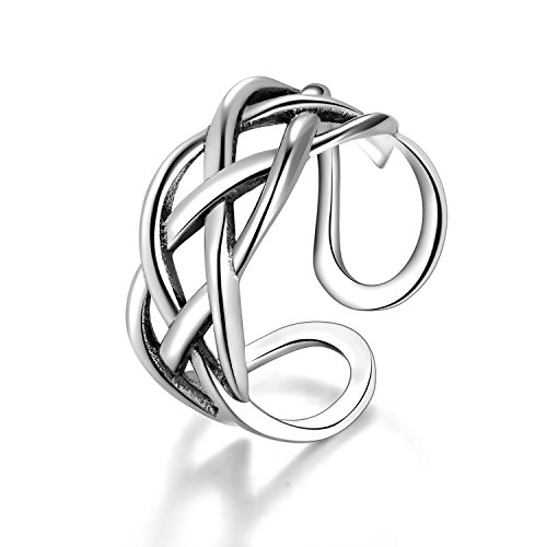Candyfancy Love Celtic Knot Ring 925 Sterling Silver Toe Ring Open Adjustable for Women Girls Size 4-6