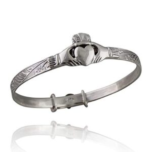 "Sterling Silver Oxidized Celtic Baby Claddagh Bangle Bracelet - Adjustable 5"" to 6"""