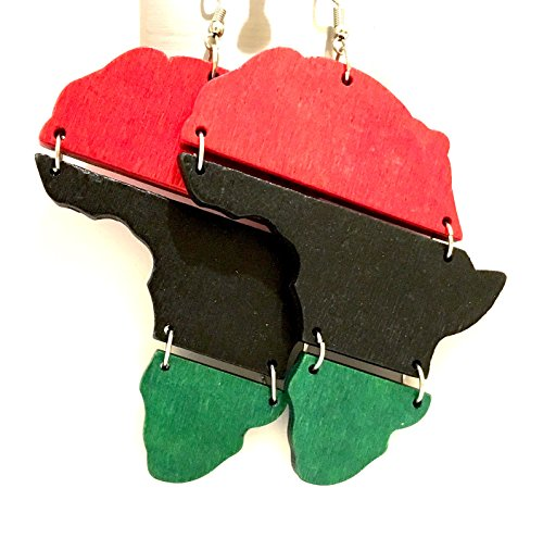 Afro American Woman's wood earring , African American Map flag earrings