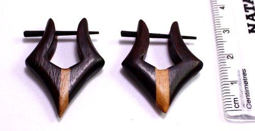 Krishna Mart India Tribal Organic Wooden Earrings Fake Gauges Sold As Pair Bohemian Jewelry wood Sew_243