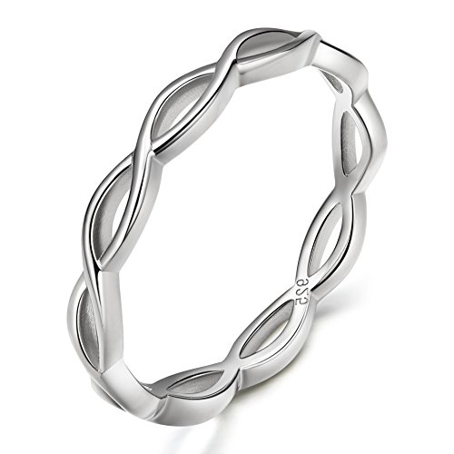 EAMTI 925 Sterling Silver Celtic Knot Ring Simple Criss Cross Infinity Wedding Band for Women Size 4-11