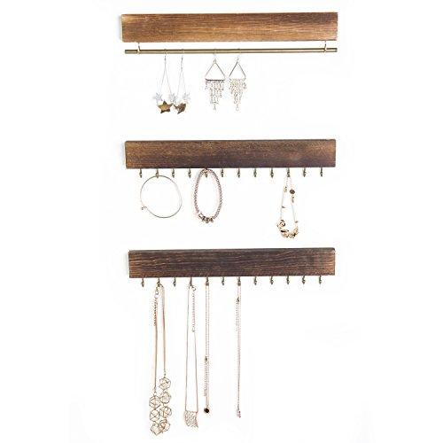 MyGift Set of 3 Rustic Wood & Gold Tone Metal Jewelry Organizers/Necklace & Bracelet Hook Racks/Earring Bar