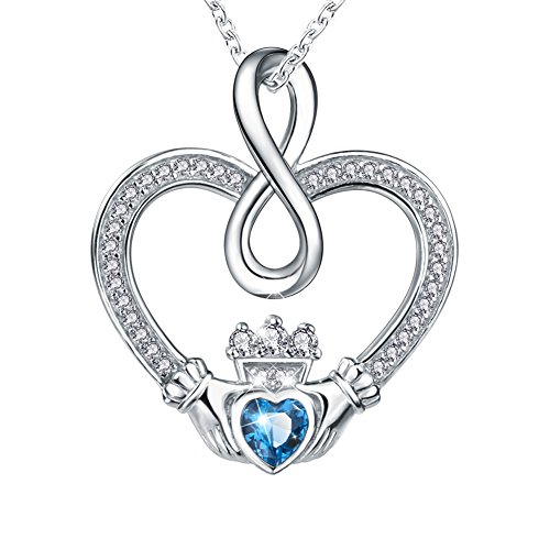 Apotie 925 Sterling Silver Infinity and Cross Pendant Necklaces Jewelry Gift for Women