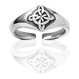 Sterling Silver Celtic Knot Northern Star Toe Pinky Ring