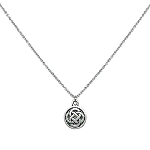 Loralyn Designs Small Celtic Knot Necklace Pewter Pendant Stainless Steel Chain (16-24 Inch)