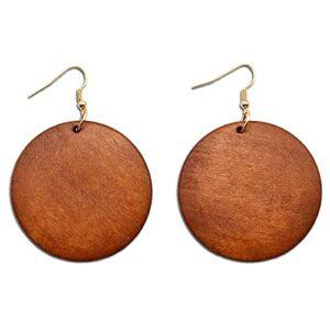ALoveSoul Wooden Earrings for Women - Big Round Circle Geometric Wood Drop Dangle Hook Earrings