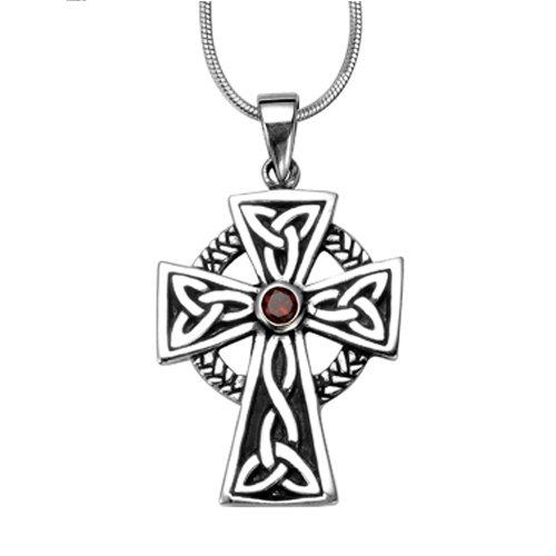 925 Sterling Silver Celtic Irish Cross Red Garnet Stone Pendant on Alloy Necklace Chain, 18 inches