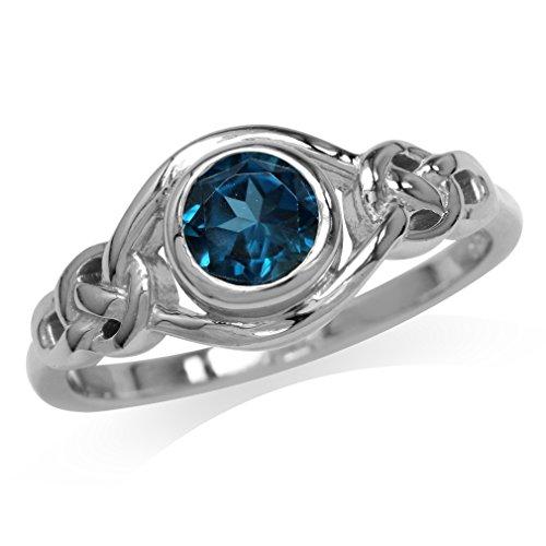 Genuine London Blue Topaz 925 Sterling Silver Celtic Knot Ring