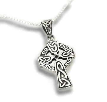 """Celtic Knot Sun Cross Sterling Silver Pendant with 18"""" Necklace"""