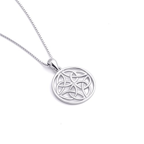 """925 Sterling Silver Good Luck Irish Celtic Knot Round Pendant Necklaces, Box Chain 18"""""""