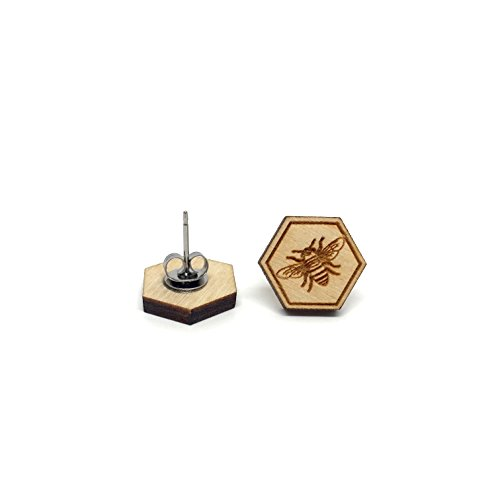 Bee and Honeycomb Earrings- Natural Wood