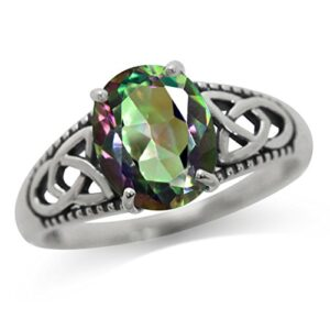 3.04ct. Mystic Fire Topaz 925 Sterling Silver Triquetra Celtic Knot Solitaire Ring