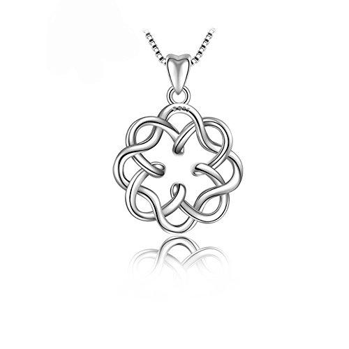 "Wonderland 925 Sterling Silver Irish Infinity Endless Love Celtic Knot Vintage Pendant Necklace, Box Chain 17+2"""