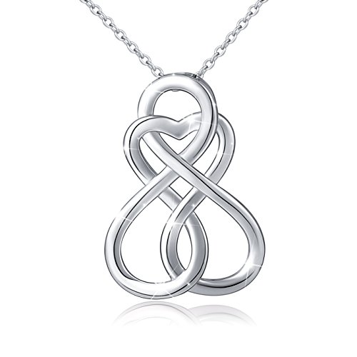 ATHENAA S925 Sterling Silver Celtic Knot Infinity Love Pendant Necklace and Earring Set