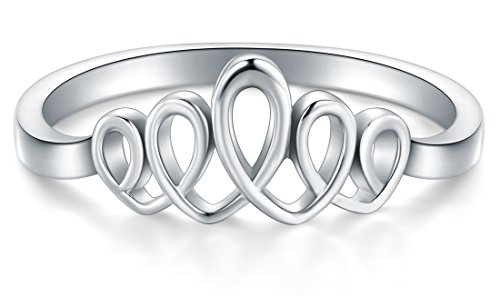 BORUO 925 Sterling Silver Ring Celtic Knot Heart Wave High Polish Tarnish Resistant Eternity Wedding Band Stackable Ring