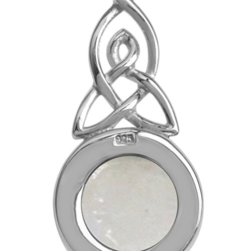 Natural Moonstone 925 Sterling Silver Triquetra Celtic Knot Pendant w/18 Inch Chain Necklace