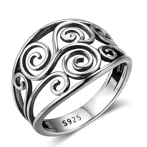 PHOCKSIN Sterling Silver Irish Celtic Knot Ring for Women Girl Anniversary Rings Mothers Day Gifts Jewelry