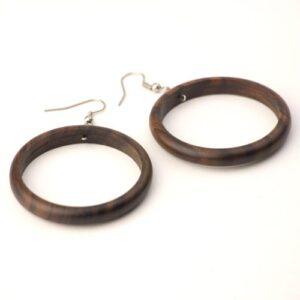 81stgeneration Women's Wood .925 Sterling Silver Round Brown 38 mm Dangle Hoop Earrings