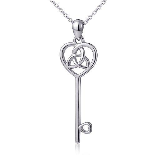 "LINLIN FINE JEWELRY 925 Sterling Silver Irish Celtic Trinity Knot Heart Key Pendant Necklace for Women, 18"""