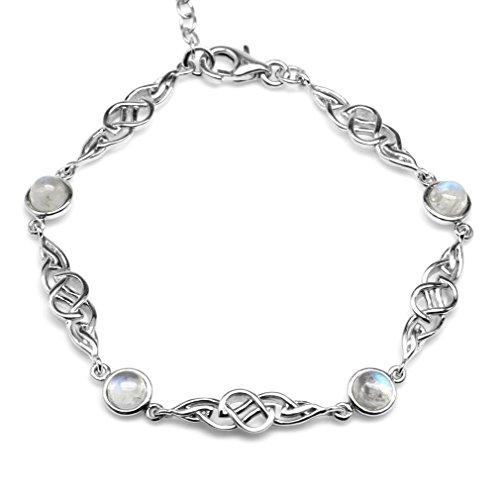 Natural Moonstone 925 Sterling Silver Celtic Knot 7-8.5 Inch Adjustable Bracelet