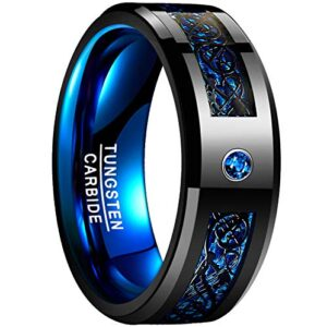 NUNCAD Black Celtic Dragon Tungsten Carbide Wedding Band Ring for Men 8mm Blue Carbon Fiber Size 7 to 12