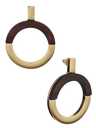 Women's Chic Semi Wood Metal Circle Pierced Drop Earrings