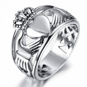Sobly Jewelry Men's Stainless Steel Claddagh Heart Crown Ring with Celtic Knot Eternity Design