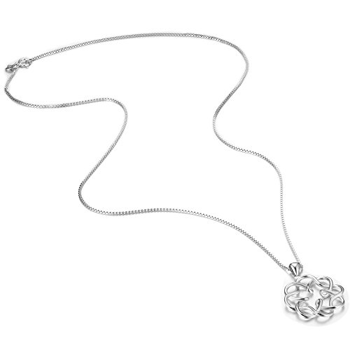 FUNRUN JEWELRY 925 Sterling Silver Celtic Knot Pendant Necklace for Women Girls Infinity Necklace Endless Love