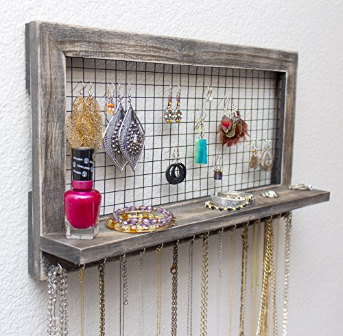 SoCal Buttercup Rustic Jewelry Organizer Wall Mounted from Wooden Wall Mount Holder for Earrings, Necklaces, Bracelets, and many other accessories - Earring Wire Hangers