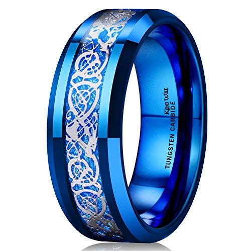 King Will Dragon Men Women 8mm Tungsten Carbide Ring Blue Carbon Fiber Silver Celtic Dragon Inlay Wedding Band