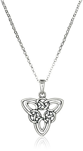 """Sterling Silver Oxidized Celtic Triquetra Trinity Knot Pendant Necklace, 18"""""""